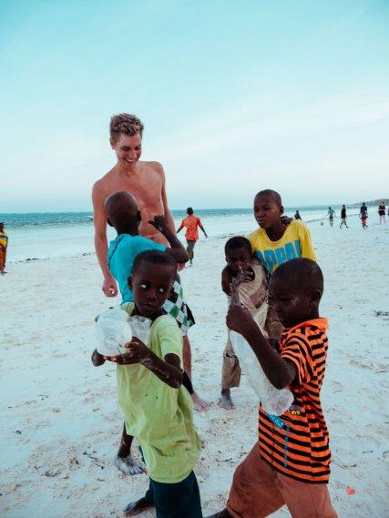 Playing with Kids at the beach of Matemwe Beach
