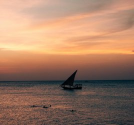 Sonnenuntergang mit Dhow in Sansibar