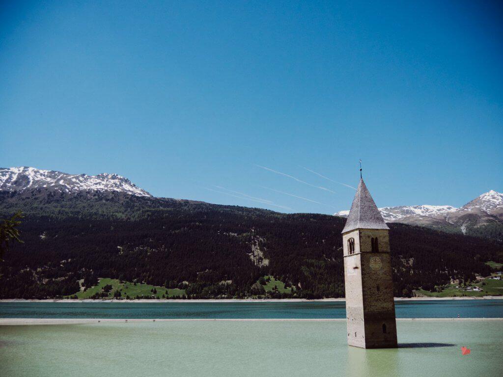 Reschensee - versunkener Turm