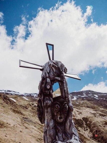 Figur auf dem Wanderung zur Sesvenna Hütte