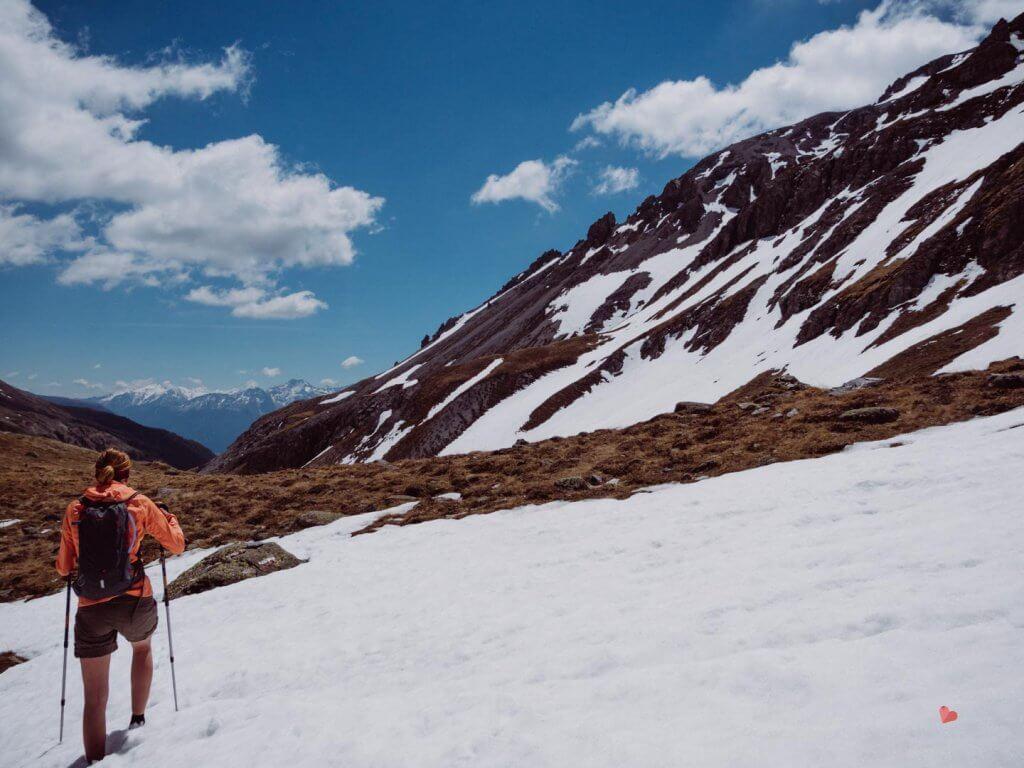 Schnee Ende Mai bei der Sesvenna Hütte