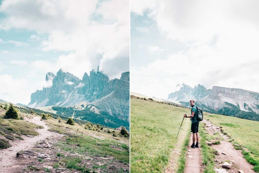 Urlaub in den Dolomiten - Wanderung Raschötz - Puez-Geisler - Blick auf Seceda