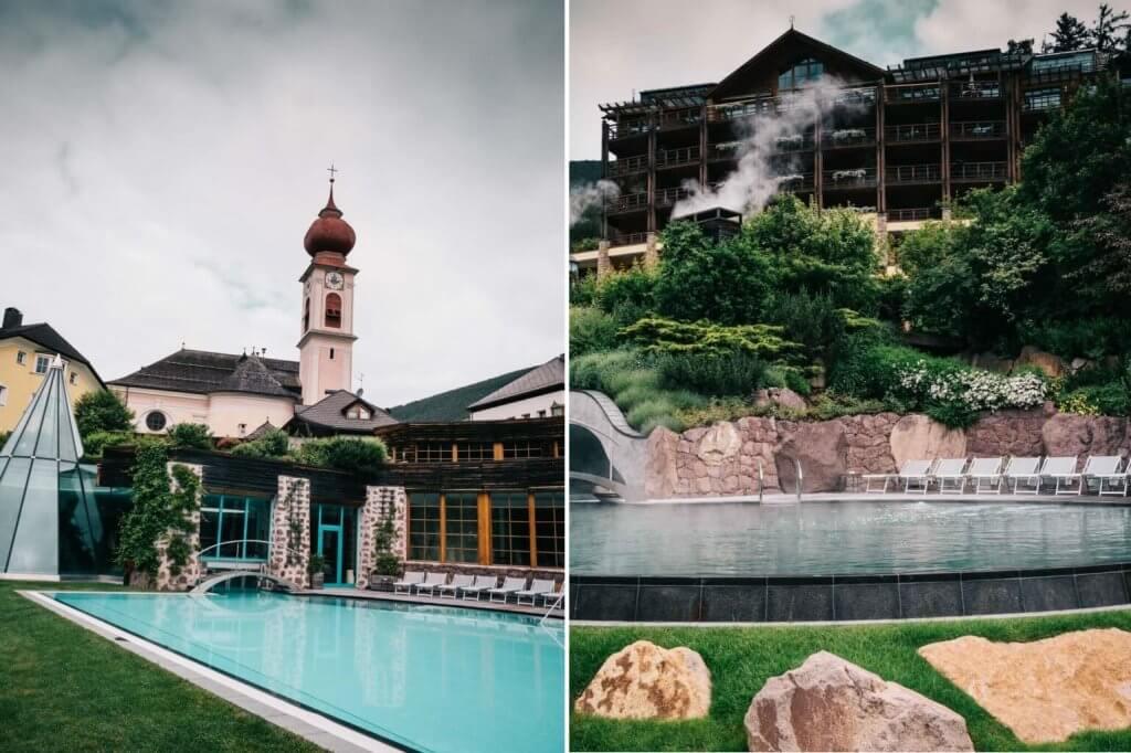 Außenpool im Adler Dolomiti St. Ulrich - Urlaub in den Dolomiten